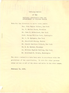 Thumbnail of Official ballot of the National Association for the Advancement of Colored People