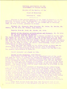 Thumbnail of National Association for the Advancement of Colored People Minutes of the Meeting of the Board of Directors February 2, 1915