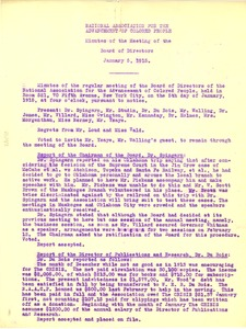 Thumbnail of National Association for the Advancement of Colored People Minutes of the Meeting of the Board of Directors January 5, 1915