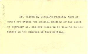 Thumbnail of Mr. Wilson M. Powell's Regrets