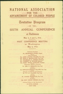Thumbnail of National Association for the Advancement of Colored People tentative program of the sixth annual conference at Baltimore May 3, 4, and 5, 1914.