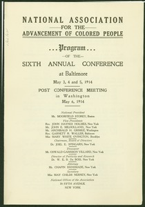 Thumbnail of National Association for the Advancement of Colored People program of the sixth annual conference at Baltimore May 3, 4, and 5, 1914.
