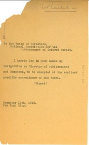 Thumbnail of Letter from W. E. B. Du Bois to the NAACP Board of Directors