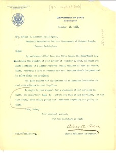 Thumbnail of Letter from United States Dept. of State to W. E. B. Du Bois
