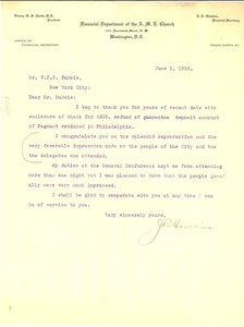 Thumbnail of Letter from J. R. Hawkins to W. E. B. Du Bois