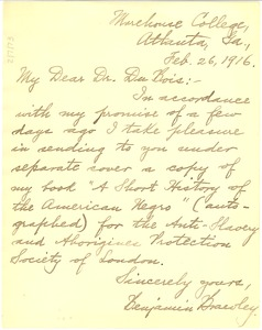 Thumbnail of Letter from Benjamin Brawley to W. E. B. Du Bois