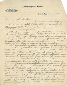 Thumbnail of Letter from Mildred Bryant to W. E. B. Du Bois