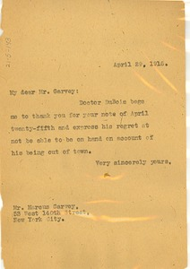 Thumbnail of Letter from Unidentified correspondent to Marcus Garvey