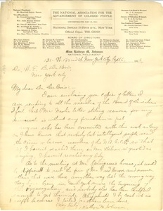 Thumbnail of Letter from Kathryn M. Johnson to W. E. B. Du Bois