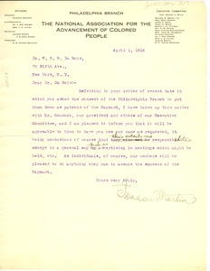 Thumbnail of Letter from NAACP Philadelphia Branch to W. E. B. Du Bois