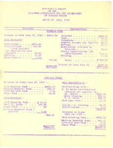 Thumbnail of Treasurer's Report of the National Association for the Advancement of Colored People, Month of July 1917