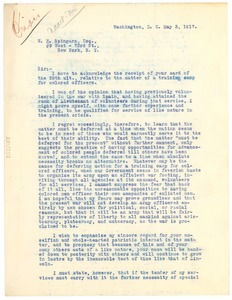 Thumbnail of Letter from Ernest R. Gaithen to Joel E. Spingarn