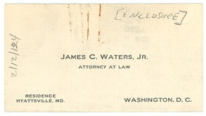 Thumbnail of Letter from James C. Waters to W.E.B. Du Bois