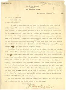 Thumbnail of Letter from J. Max Barber to W.E.B. Du Bois