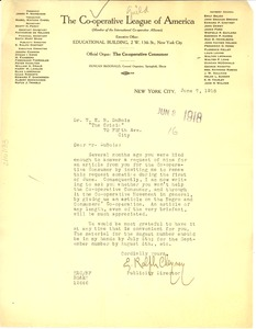 Thumbnail of Letter from Cooperative League of America to W. E. B. Du Bois