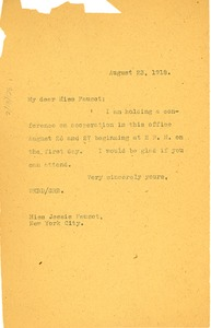 Thumbnail of Letter from W. E. B. Du Bois to Jessie Fauset
