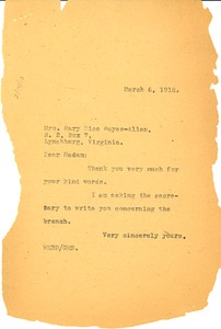 Thumbnail of Letter from W. E. B. Du Bois to Mary Rice Hayes-Allen