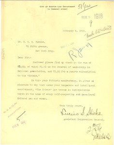 Thumbnail of Letter from Lucuis S. Hicks to W. E. B. Du Bois