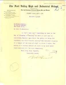 Thumbnail of Letter from H. A. Hunt to W. E. B. Du Bois