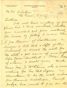 Thumbnail of Letter from University of Iowa Department of History to W. E. B. Du Bois