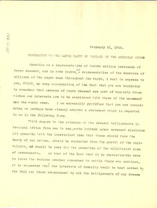 Thumbnail of Memorandum to the Labor Party of England on the American Negro