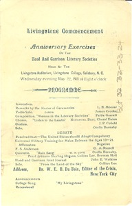 Thumbnail of Livingstone Commencement Anniversary Exercises of the Hood and Garrison Literary Societies