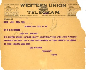 Thumbnail of Letter from NAACP Denver Branch to W. E. B. Du Bois