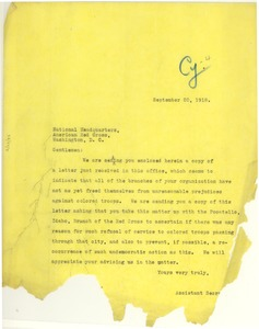 Thumbnail of Letter from NAACP to American Red Cross