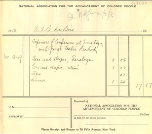 Thumbnail of Invoice from W. E. B. Du Bois to the NAACP