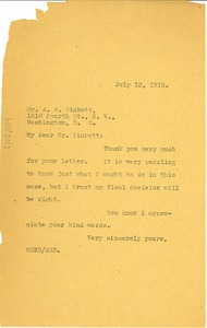 Thumbnail of Letter from W. E. B. Du Bois to Archibald S. Pinkett