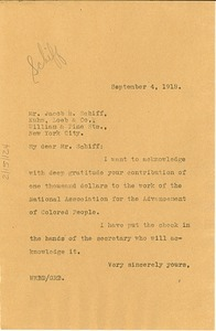 Thumbnail of Letter from W. E. B. Du Bois to Jacob H. Schiff