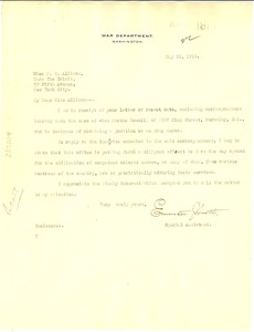 Thumbnail of Letter from U. S. War Department to Madeline G. Allison