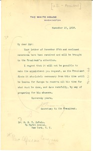 Thumbnail of Letter from the White House to W. E. B. Du Bois
