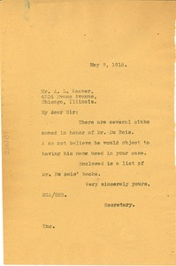 Thumbnail of Letter from Madeline G. Allison to Archie L. Weaver