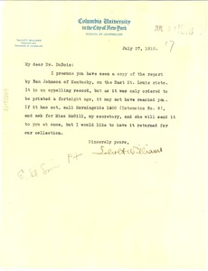 Thumbnail of Letter from Talcott Williams to W. E. B. Du Bois