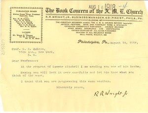 Thumbnail of Letter from R. R. Wright Jr. to W. E. B. Du Bois