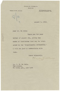 Thumbnail of Letter from Charles Zueblin to W. E. B. Du Bois