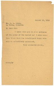 Thumbnail of Letter from W. E. B. Du Bois to E. A. Allen
