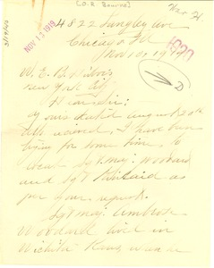 Thumbnail of Letter from O. R. Bourne to W. E. B. Du Bois