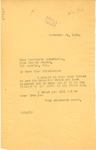 Thumbnail of Letter from W. E. B. Du Bois to Charlotte Brickhouse