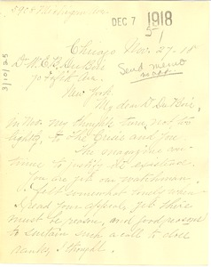 Thumbnail of Letter from S. D. Brown to W. E. B. Du Bois