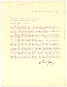Thumbnail of Letter from Colonel Charles Young to U. S. Secretary of War, Newton Baker