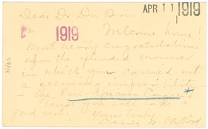 Thumbnail of Letter from Carrie W. Clifford to W. E. B. Du Bois