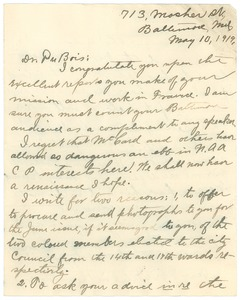 Thumbnail of Letter from James R. L. Diggs to W. E. B. Du Bois