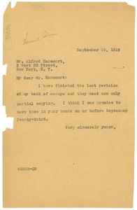 Thumbnail of Letter from W. E. B. Du Bois to Alfred Harcourt