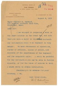 Thumbnail of Letter from W. E. B. Du Bois to Chester D. Heywood