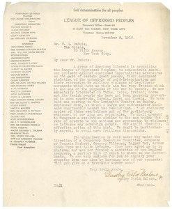 Thumbnail of Letter from League of Oppressed Peoples to W. E. B. Du Bois