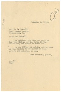 Thumbnail of Letter from Madeline G. Allison to S. R. Morsell