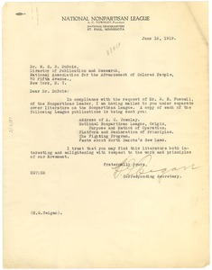 Thumbnail of Letter from National Nonpartisan League to W. E. B. Du Bois