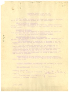 Thumbnail of National Association for the Advancement of Colored People Report of the             secretary for the April 1919 meeting of the Board.